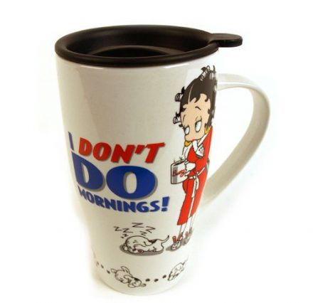 I Don't Do Mornings Travel Mug, Betty Boop